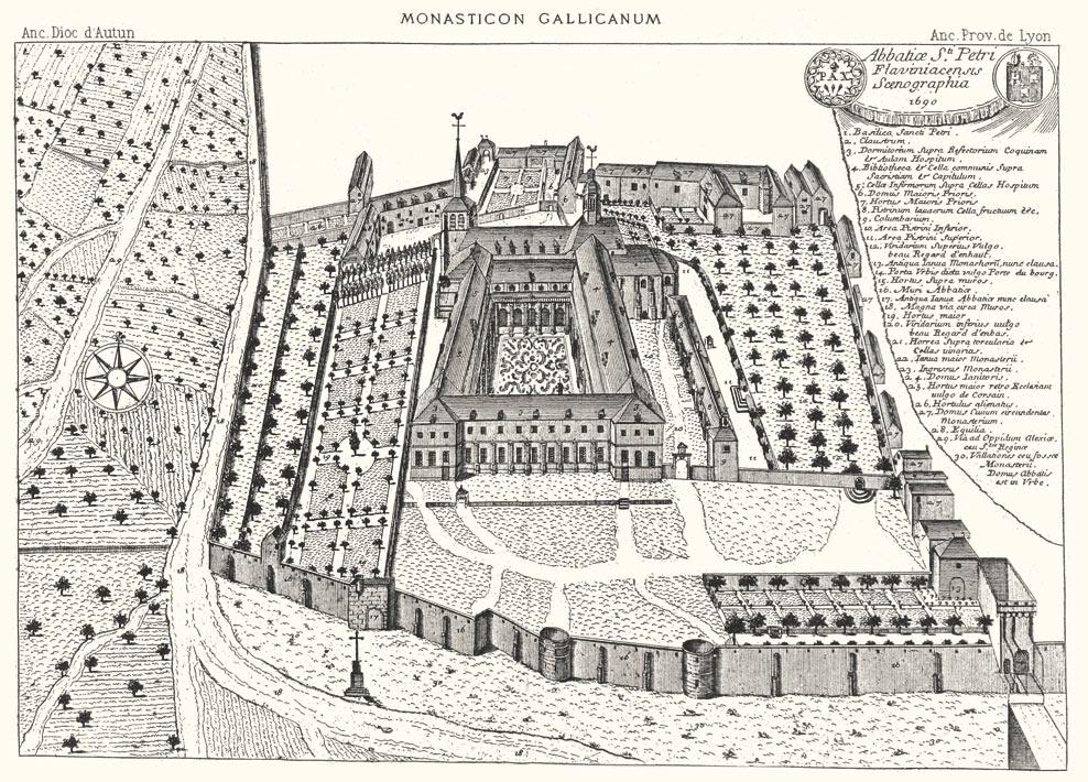 Внешний вид аббатства Святого Петра в конце XVII века. Гравюра из коллекции Monasticum Gallicanum.
