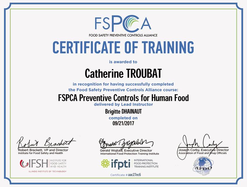 Свидетельство о прохождении персоналом учёбы по американским стандартам продовольственной безопасности.